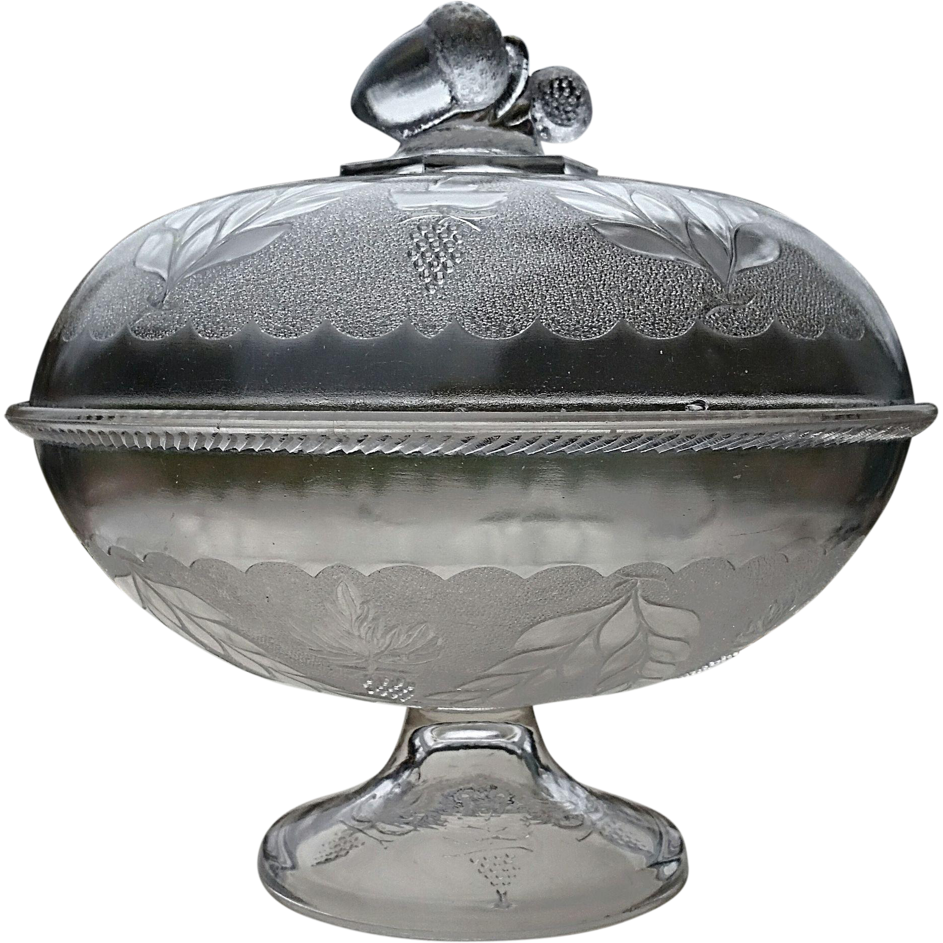 """Stippled Grape and Festoon"" pattern, Victorian covered compote, Doyle & Co."