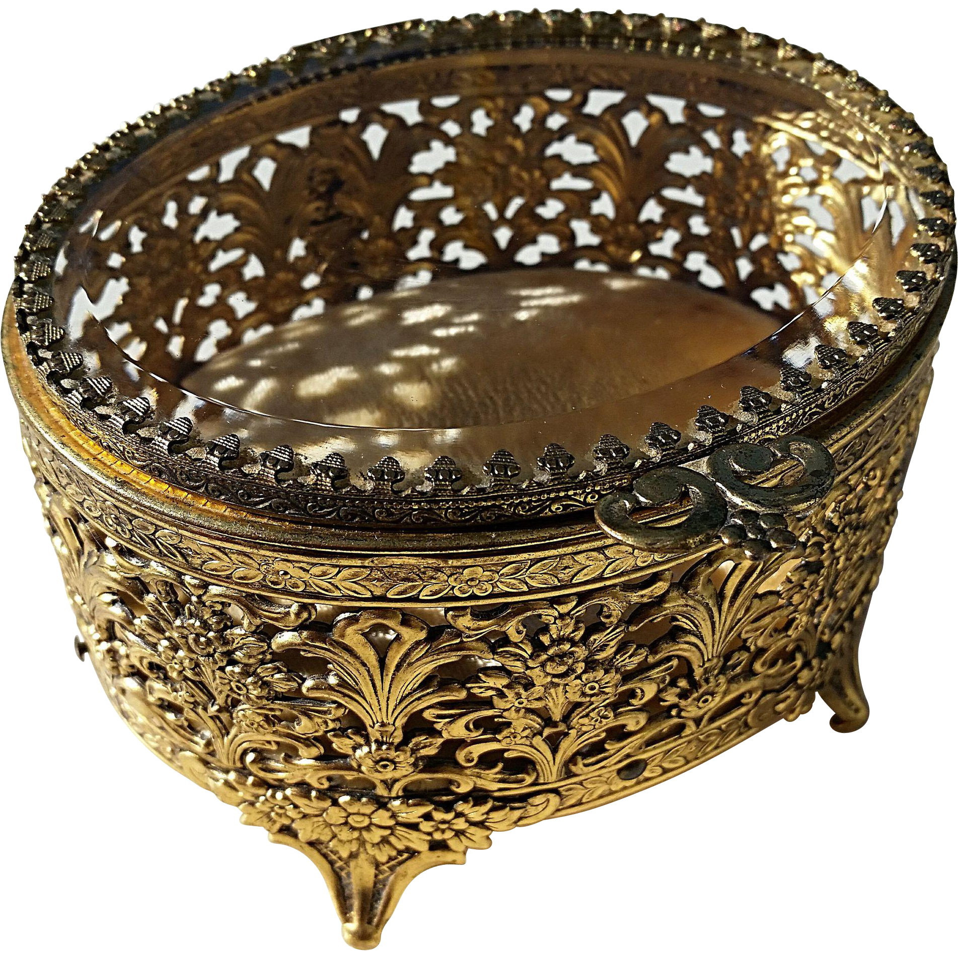 Ormolu jewelry casket, gold gilt filigree, Matson