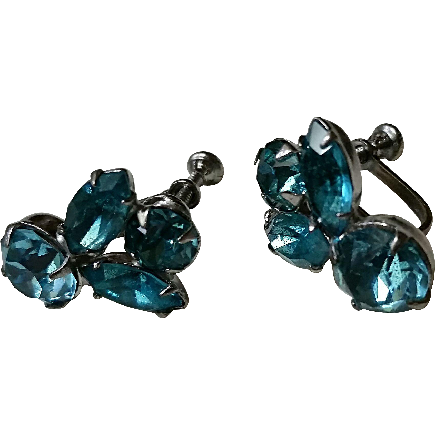 Vintage blue glass stone earrings, silvertone screw-back