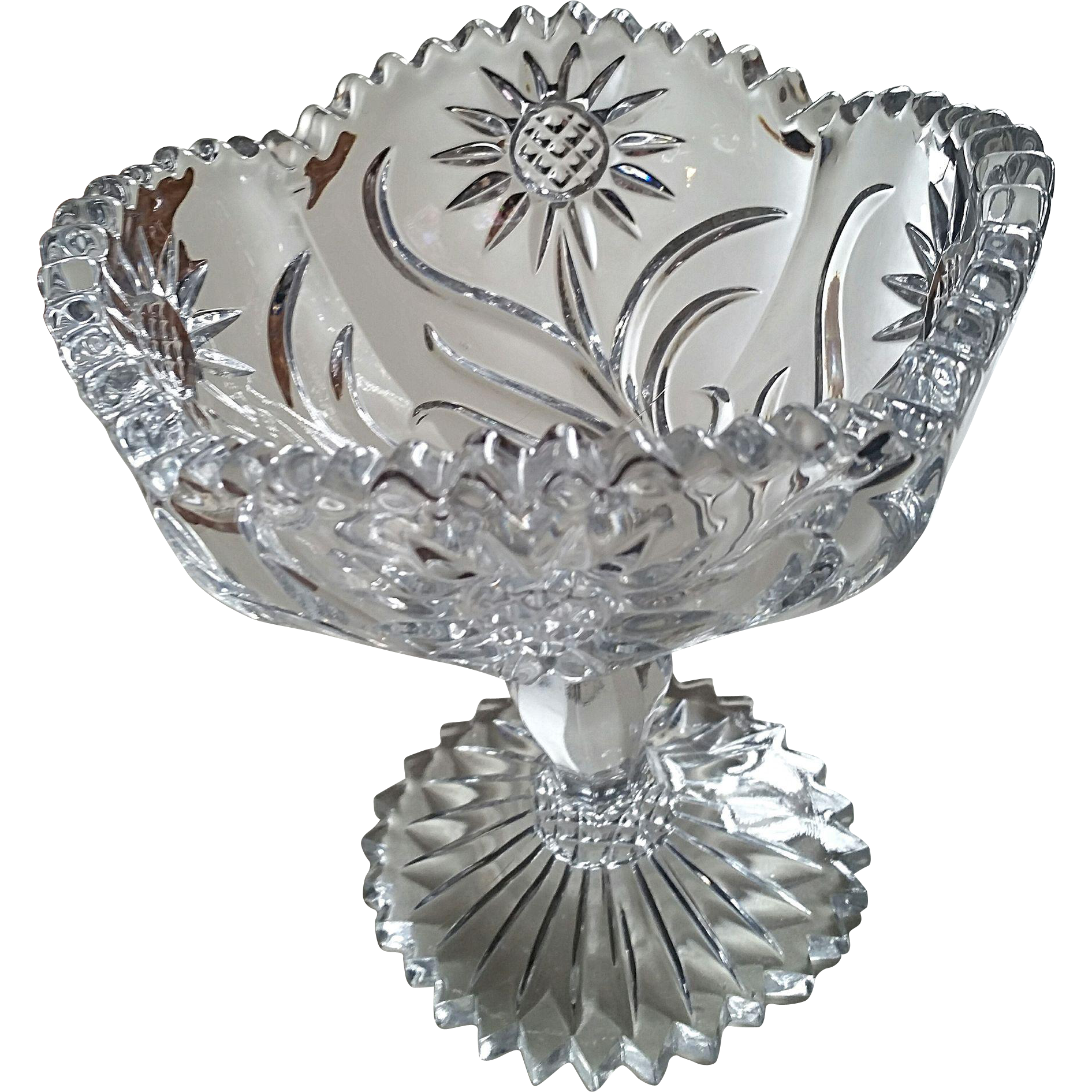 """Intaglio Sunflower"" eapg compote, U.S. Glass"