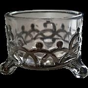 "Sterling silver overlay Master salt, ""Filigree"", ""Capitol"" pattern, Westmoreland Glass"