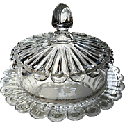 "Eapg ""Nail"" pattern etched butter dish, Ripley Glass, ""Recessed Pillar thumbprint band"""