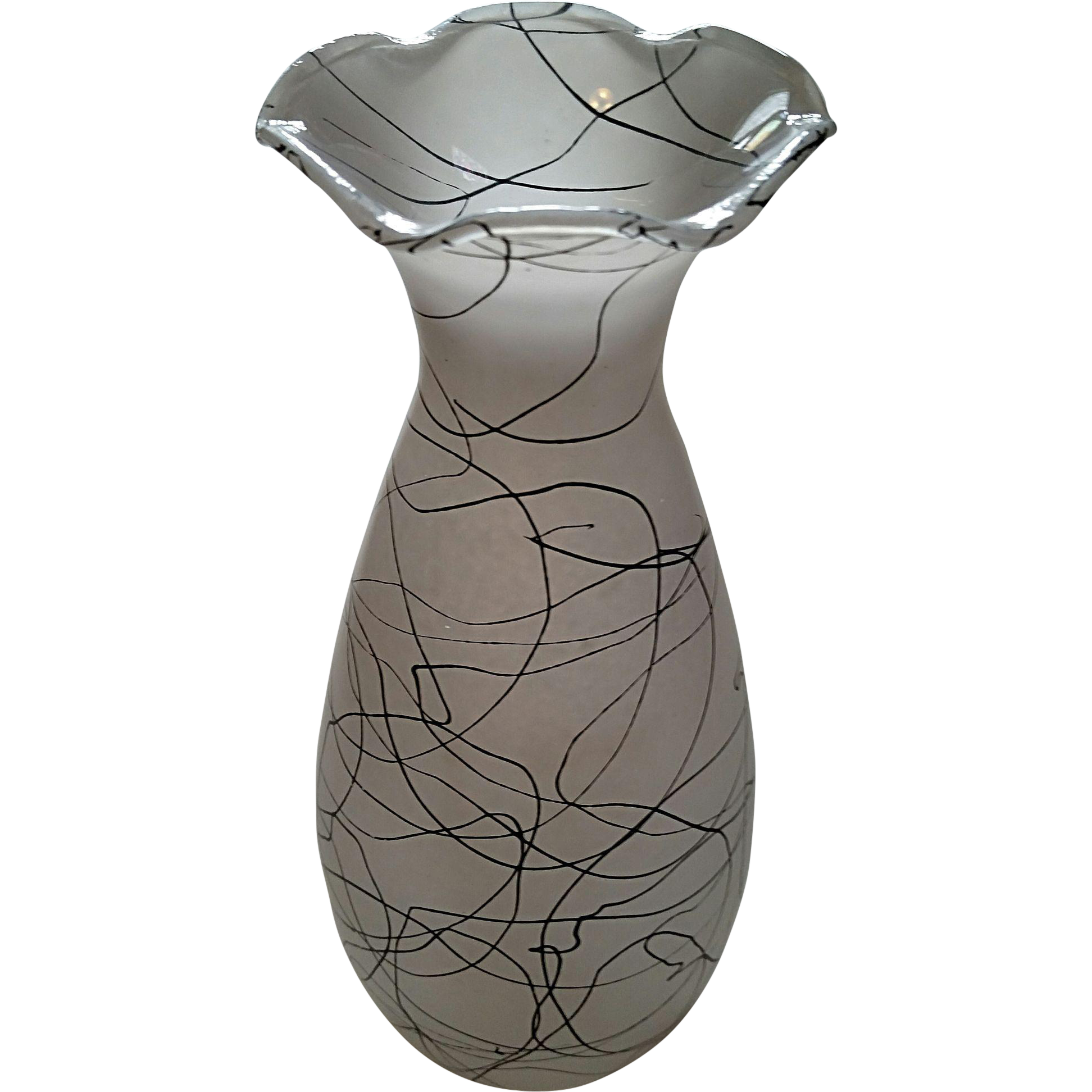"Hazel Atlas retro ""Drizzle String"" vase"