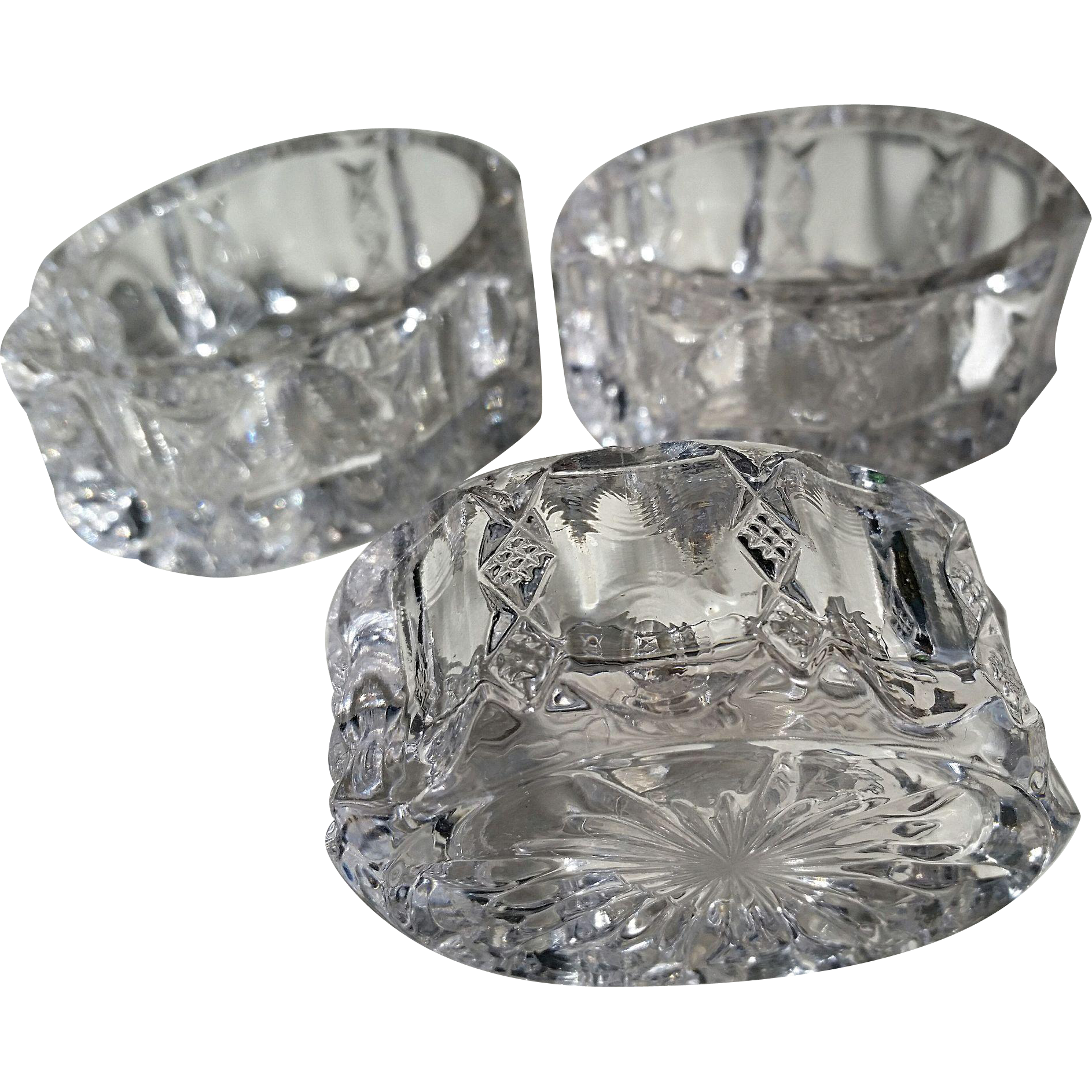 """Diamond Ridge"" pattern glass open salts, Duncan, (3)"
