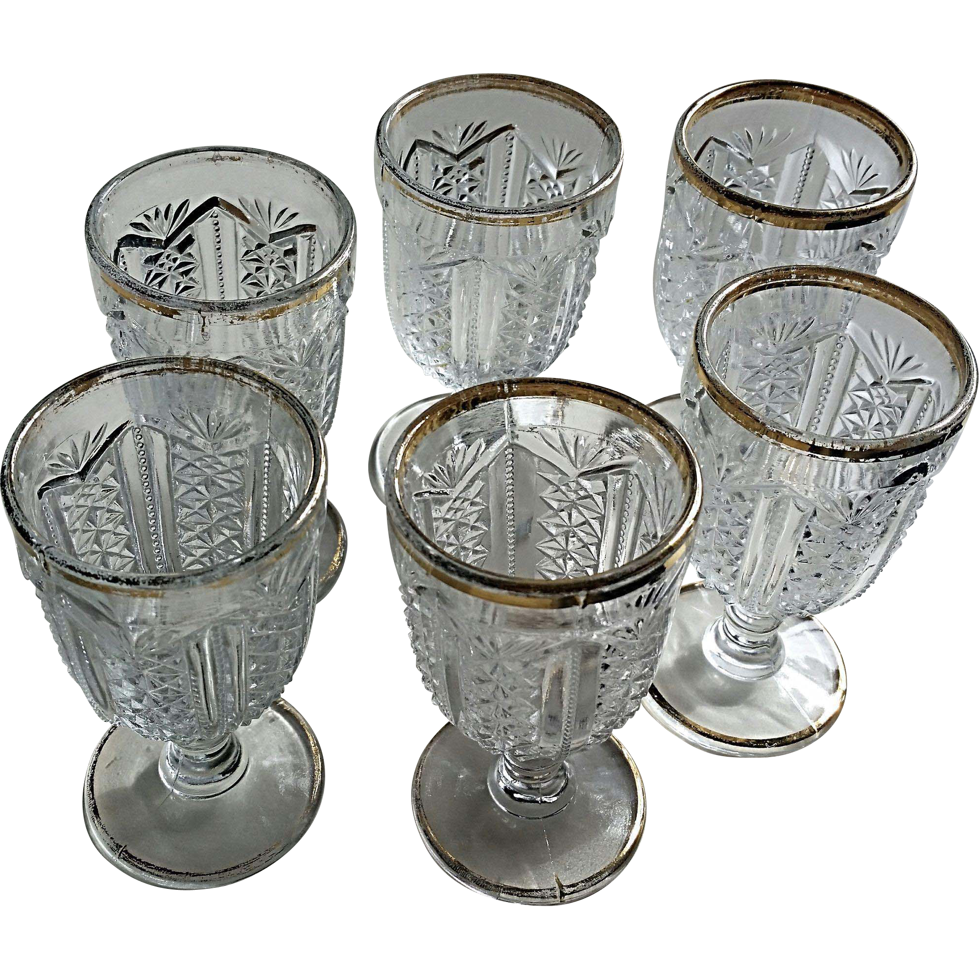 Pattern glass wine stems / goblets, set of 6, Eapg