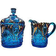 Idyll pattern, Jefferson Glass #251, Blue with gold, Covered sugar / creamer set