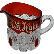 "Ruby-stained ""New Hampshire"" pattern, eapg cream pitcher"