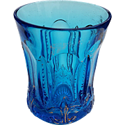 Iris with Meander, Jefferson glass, blue eapg tumbler