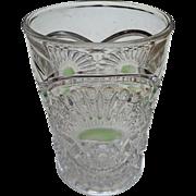 Eapg, Rising Sun, green stain tumbler, U.S. Glass