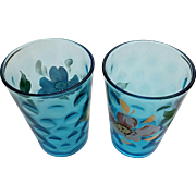 Victorian art glass enameled tumblers, inverted thumbprint, blue optic