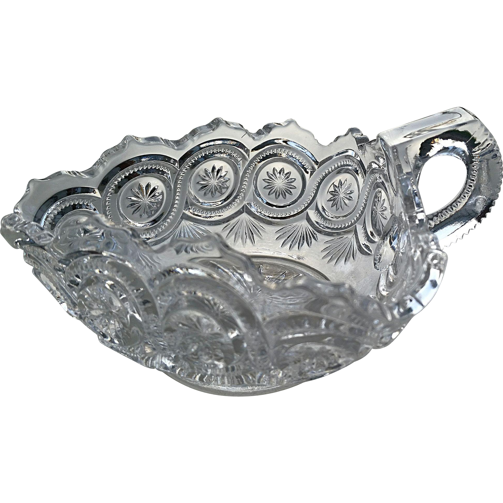 """Star in Bullseye"", eapg nappy bowl, U.S. Glass"