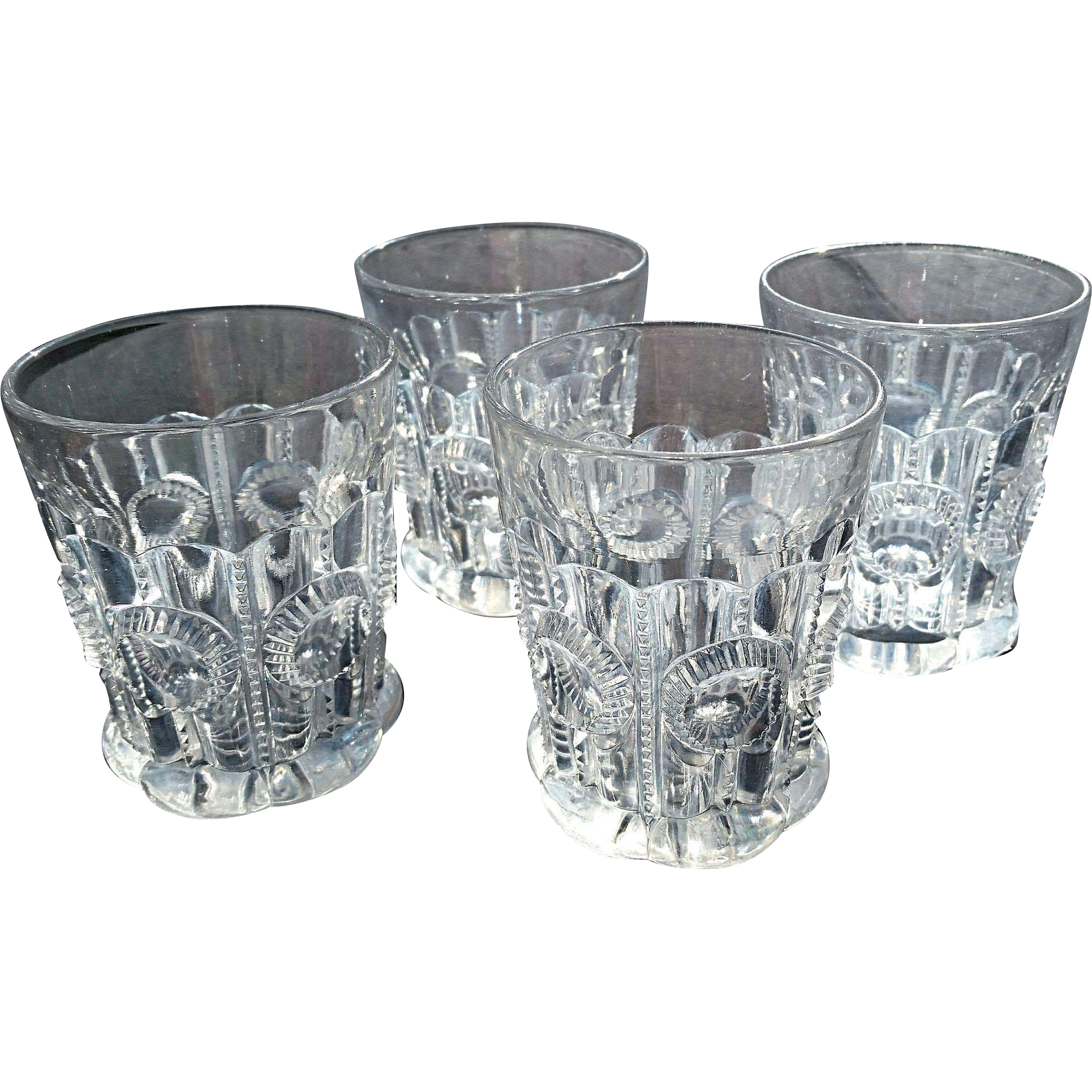 'Co-ops Columbia' set of 4 pattern glass tumblers, Co-operative Flint Glass