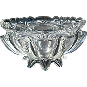 Greentown Glass, 'Herringbone Buttress' clear 7 inch bowl