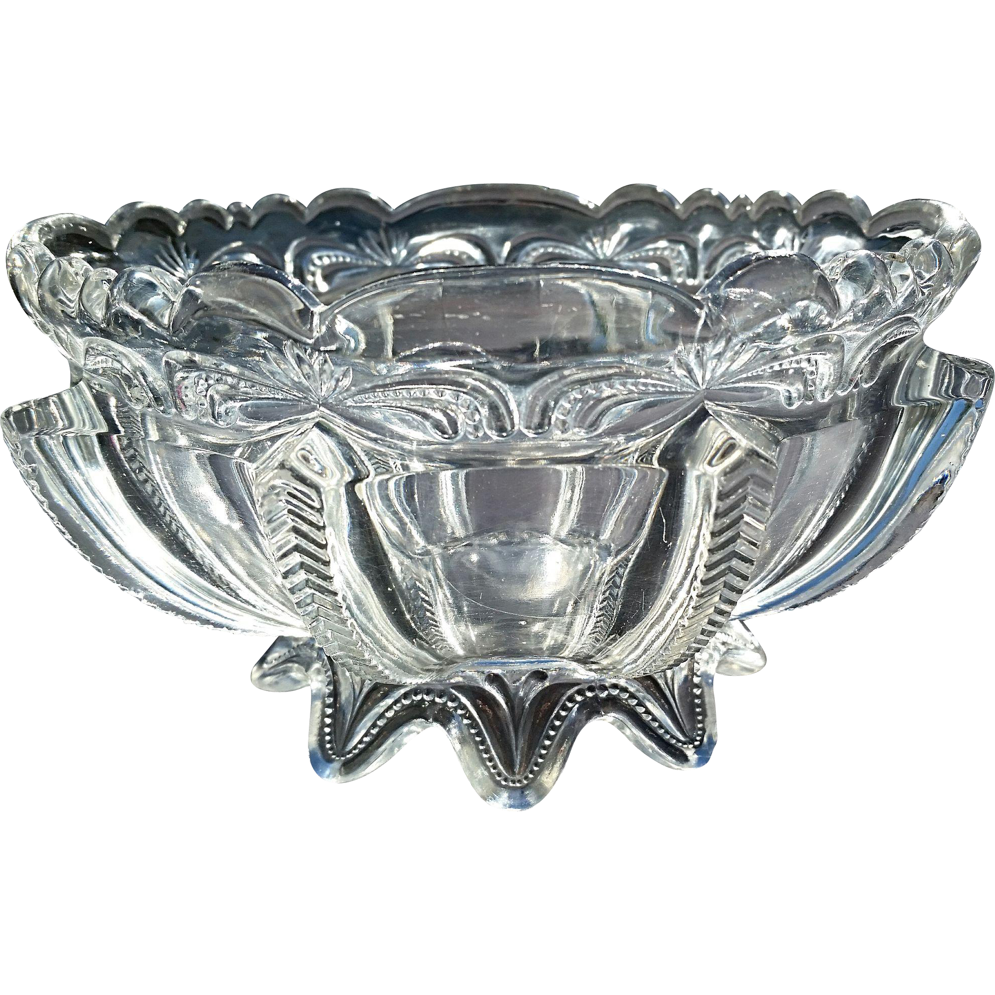 Greentown Glass, 'Herringbone Buttress' clear 7 inch bowl