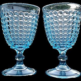 """Thousand Eye"" Adams Glass, blue goblet, pair"