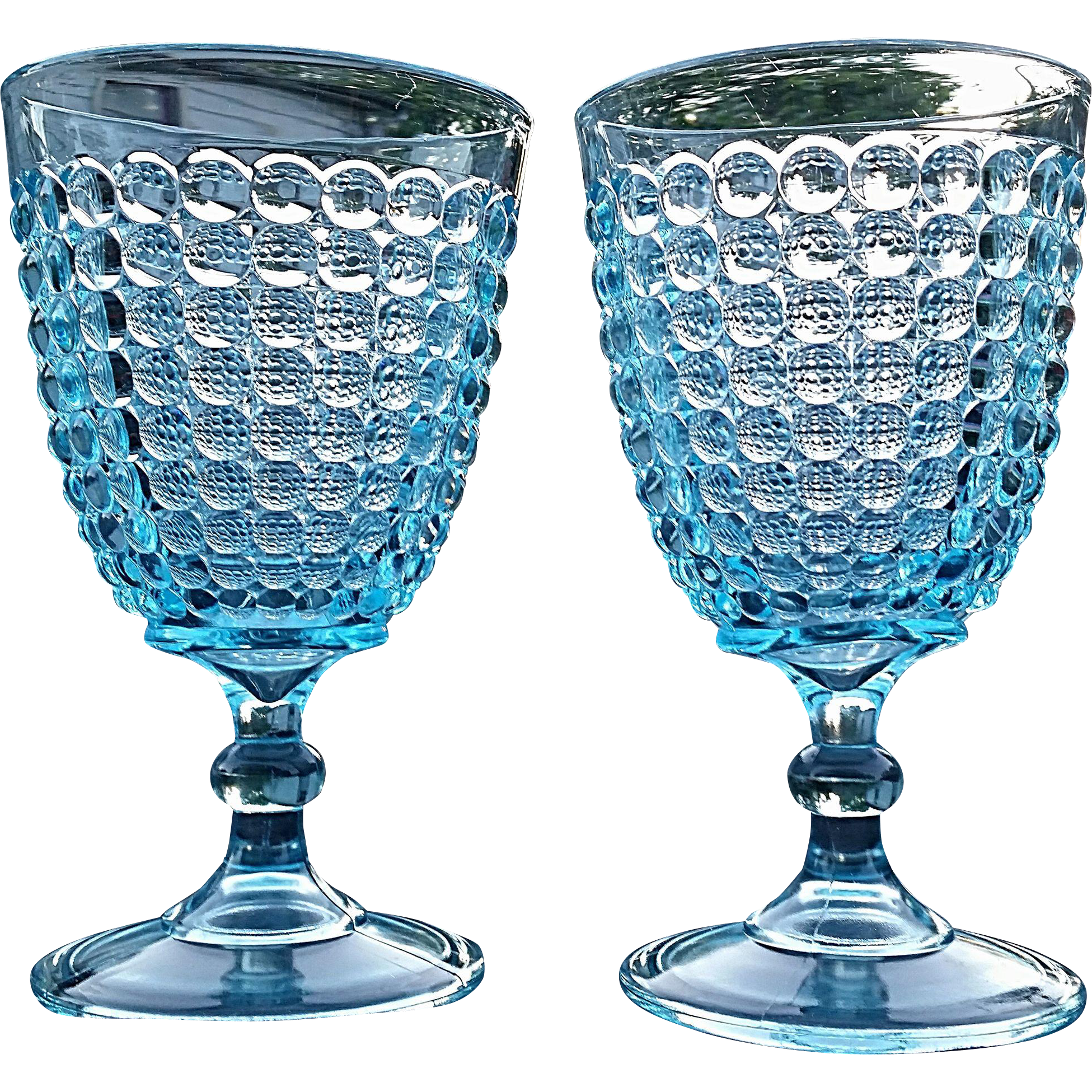 """Thousand Eye"" Adams Glass, blue goblet, pair"