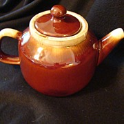 Vintage McCoy 163 Brown Glazed Dripping Teapot with Lid