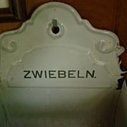 Antique Enamelware Zwiebeln Onion Hanging Bin