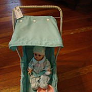 Vintage Baby Blue Welch Stroller with Baby Doll, Sleeper, Bottle, Plate