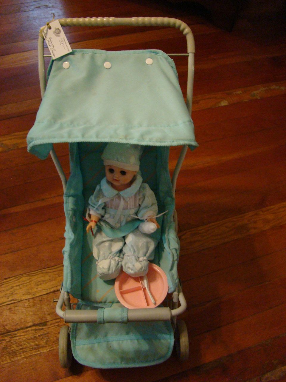 Vintage Baby Blue Welch Stroller with Baby Doll, Sleeper ...
