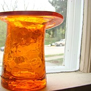 Vintage Crackled Glass Top Hat ORANGE