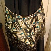 Vintage large black taffeta gypsy scarf with gold fabric accents and fringe