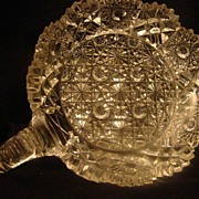Vintage EAPG DISH etched crystal cut pressed glass handled flower hobstar design