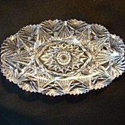 EAPG leaded cut glass sawtooth rimmed oblong candy dish