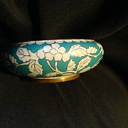 Vintage Chinese Canton Floral Enamel Blue and Brass Metal Bowl