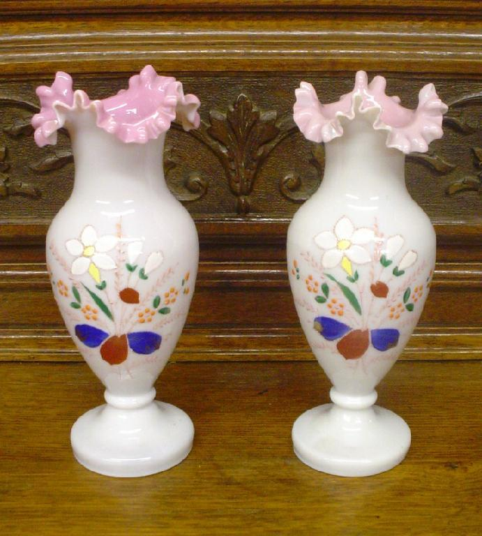 Antique Enameled Bristol Glass Pair