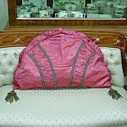 Antique Large Silk Satin Pillow Cover w/ Bronze Metallic Bullion Tassels