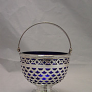 Tiffany & Co. Sterling Silver Basket w/ Cobalt Liner