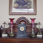 Antique Monumental Moser Bohemian Art Glass Vases - Cranberry Enamel