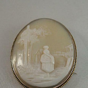 Antique Scenic Victorian Fine Carved Shell Cameo Brooch Large - 10 kt Gold