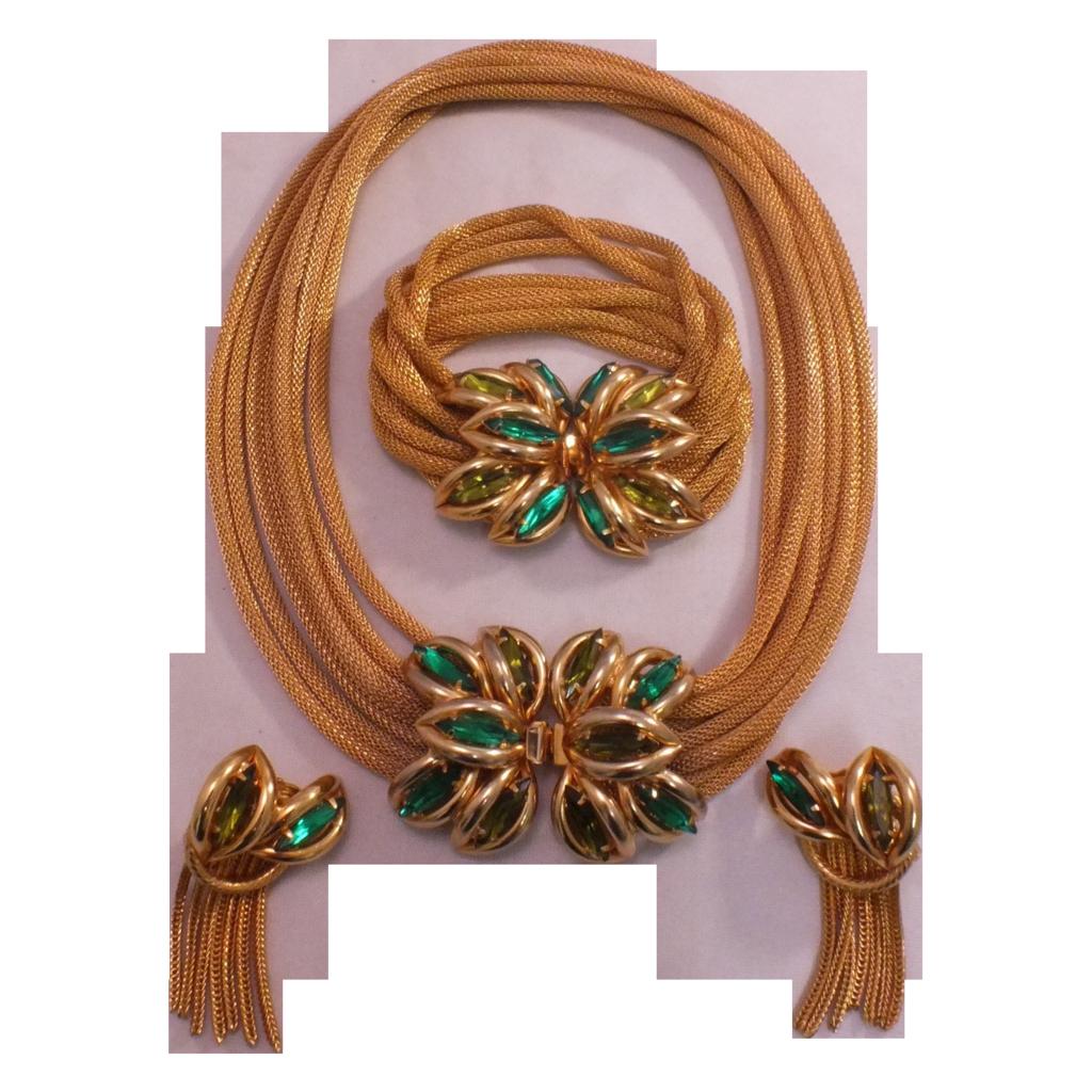 Elegant Vintage Green Rhinestone Gold MeshRope Jewelry Parure Set Hobe?