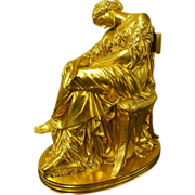 "19th Century French Gilt Bronze Statue ""Penelope Asleep"" Pierre Jules Cavelier -Barbedienne"