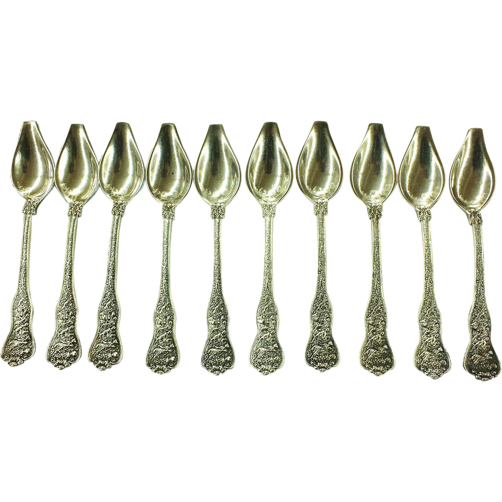 "Tiffany Sterling Silver ""Olympian"" Melon Spoons - Set of 10"