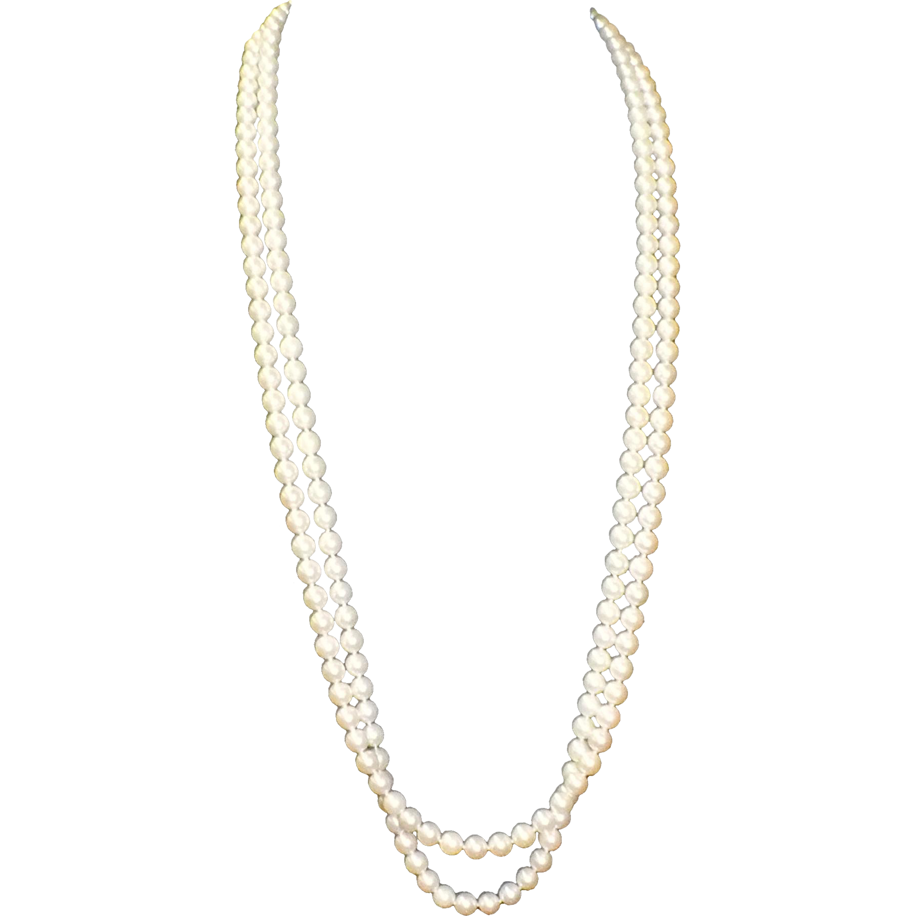 Vintage Estate Double Strand Cultured Pearl Necklace w/ Gold and Diamonds Clasp