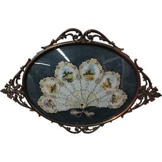 Antique 1902 Sylvan Calendar Fan - Die Cut in Ornate Metal Confex Frame