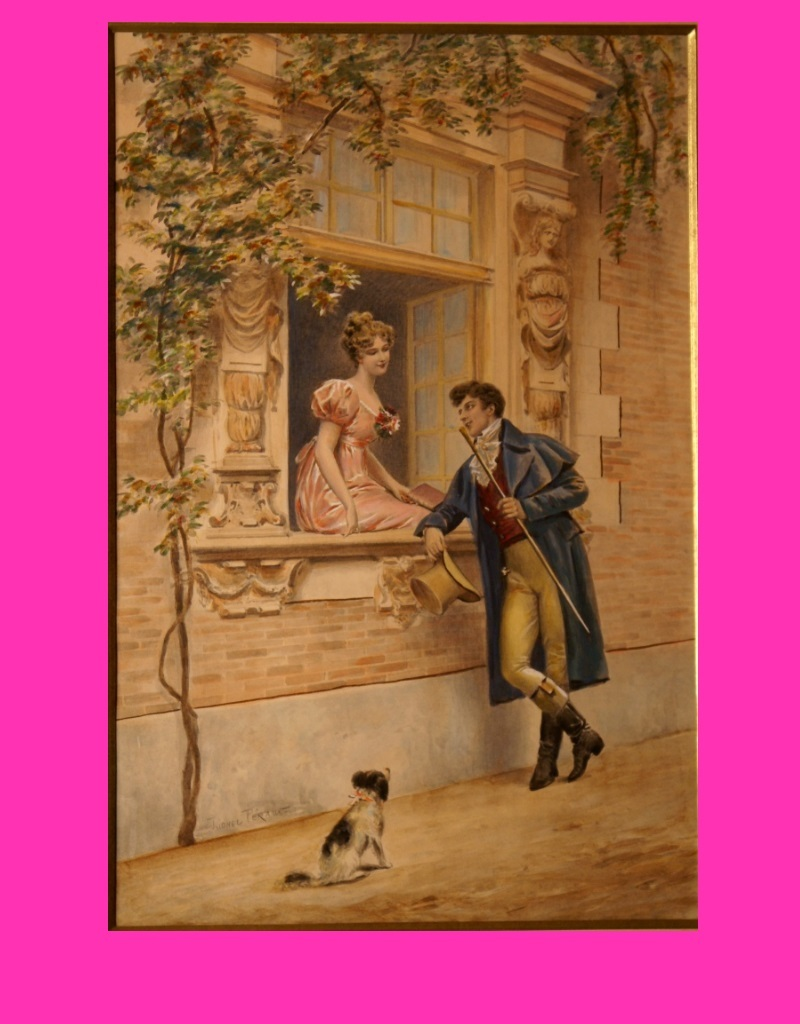 Reduced! Superb 19thC painting by French Master Lionel Péraux, the romantic visit