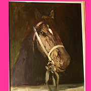 Superb horse portrait by highly listed European Master, Museum quality