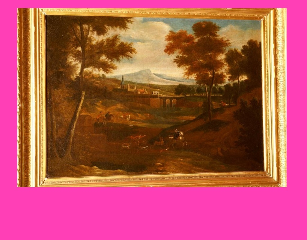1700 Deer Hunting Scene, Dutch master JF van Bloemen, Museum Quality