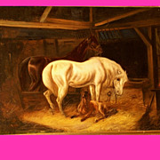 Mid 19thC stable interior with horses, Dutch highly listed Master. High quality and charming. Low price.