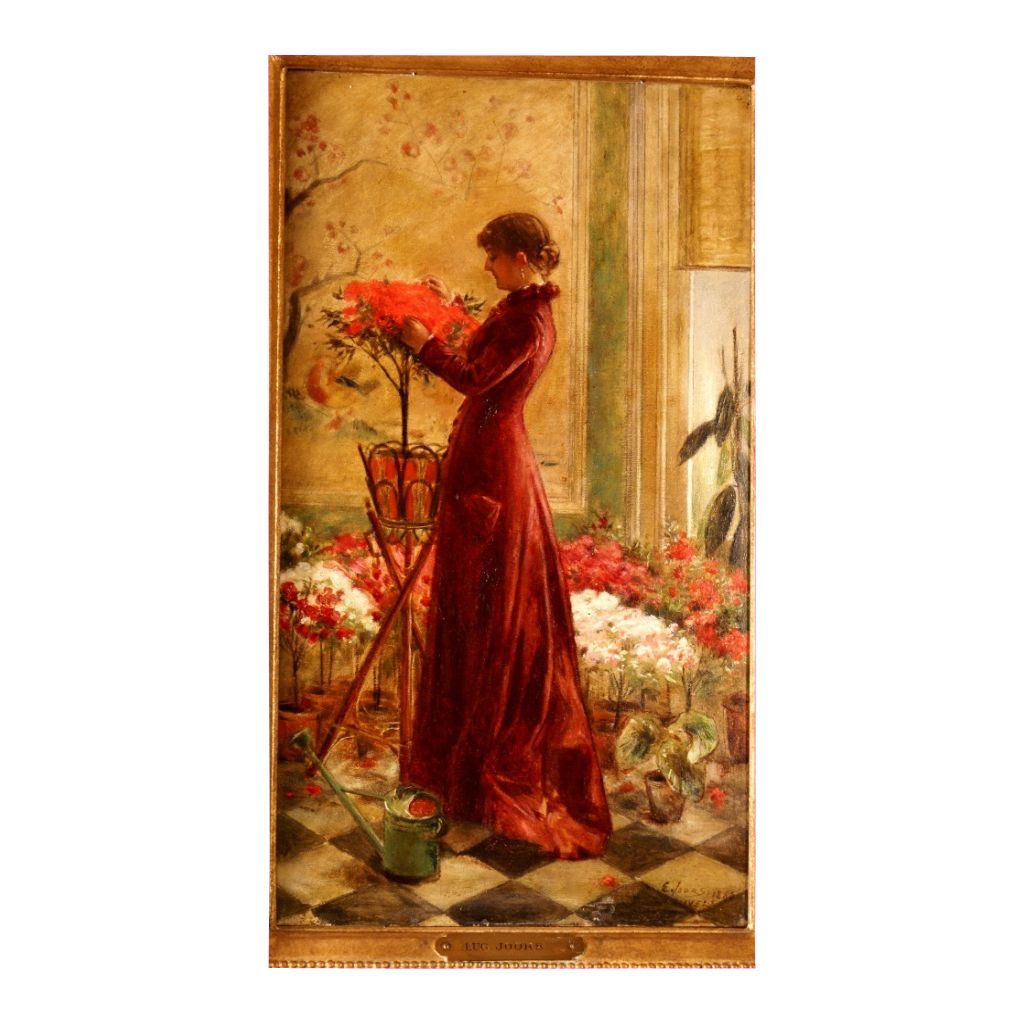 "Superb 1880 romantic Masterpiece "" Lady with flowers"" by E Joors, highly listed, Museum Quality"