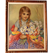 Superb impressionist Russian French painting, portrait of flower girl by highly listed E Loutchinsky