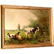 Superb impressionist 1950 painting, cows in pasture, by highly listed European Master