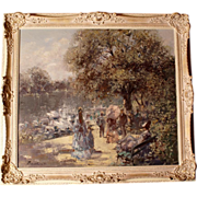 Superb romantic painting by German impressionist Master Hans Becker. Top Quality! Highly listed in Europe and the USA.