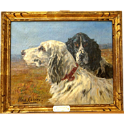 Superb 1920 French hunting dogs portrait painting by Marie Calves ( 1883-1957). Highly listed