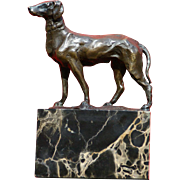 Superb 1900 bronze sculpture of hunting dog by French Master Louis Carvin ( 1875-1951)