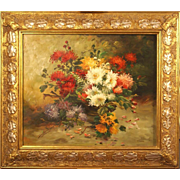Superb impressionist flower still life 1930 by highly listed French Master A Drumaux. Museum quality. 10K $ painting.